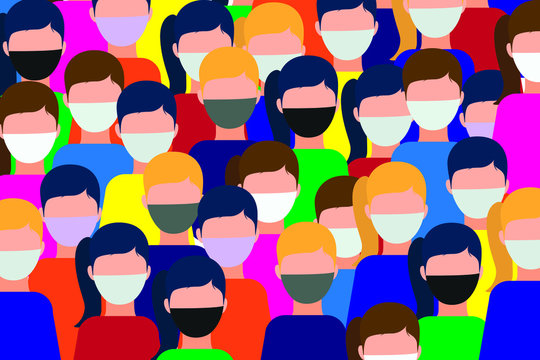 Colourful silhouettes of people wearing protective face masks against covid infection. Vector illustration.