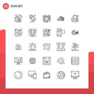 Modern Set of 25 Lines Pictograph of operator, coffee, online, items, items