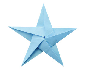 Blue origami paper star isolated white