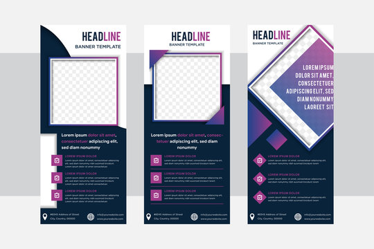 Business roll up design template, X-stand, Vertical flag banner layout, standee display promoting, brochure, Corporate flyer sale cover presentation. Square space for photo in gradient purple frame