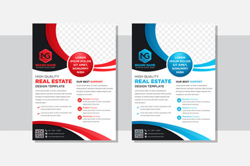Flyer design of real estate concept. Corporate business report cover, brochure. Leaflet presentation. Abstract circle, round shapes background. Modern poster magazine, layout, template.  red and blue.