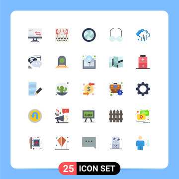 Flat Color Pack of 25 Universal Symbols of chat, rain, camera accessories, cloud, read