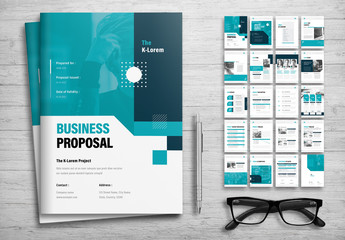 Business Proposal Layout with Teal  Accents