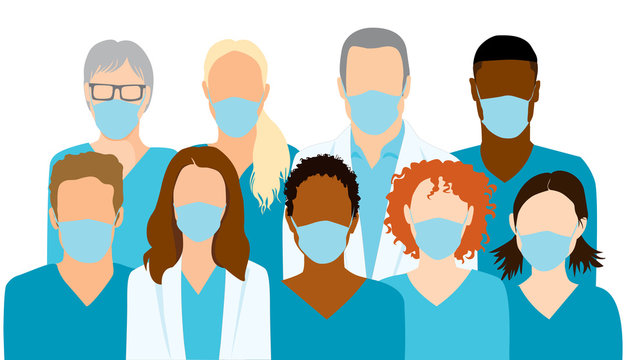 Group of medical professionals wearing protective face masks, doctors and nurses in scrubs. Faceless flat simple vector illustration.