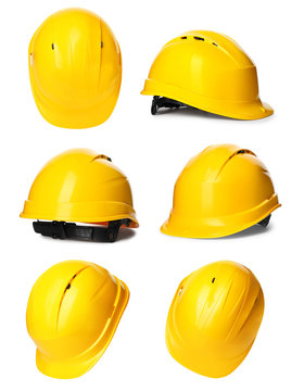 Set with safety hardhat on white background. Construction tool