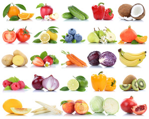 Wall Mural - Fruits and vegetables collection isolated apple peach tomatoes berries fruit