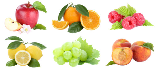 Wall Mural - Food collection fruits apple orange grapes apples oranges peach fresh fruit isolated on white