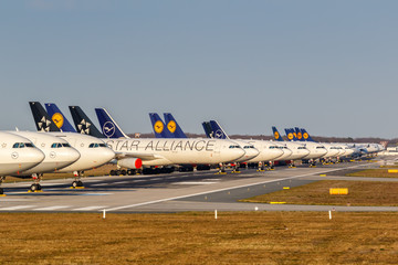 Stored Lufthansa airplanes during Coronavirus Corona Virus COVID-19 Frankfurt airport