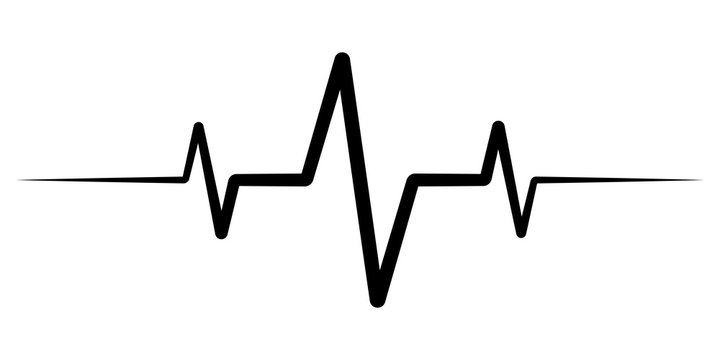 heart rate pulse, icon medicine logo, vector heartbeat heart rate icon, audio sound radio wave amplitude spikes