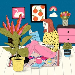 Illustration of woman reading book at home