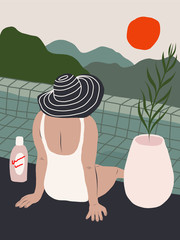 Woman by the pool looking at the mountains