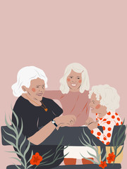 Grandmother with granddaughters playing