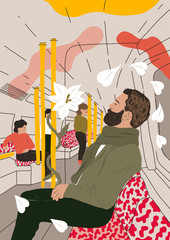 Man dreaming in the underground tube