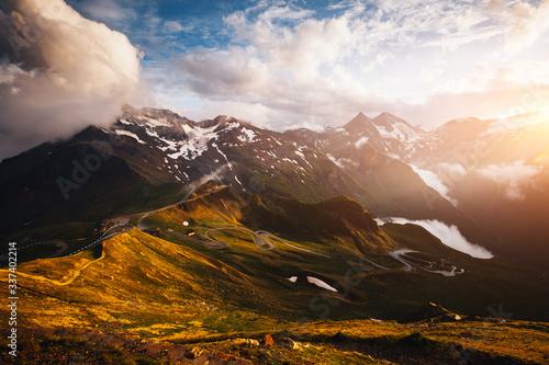 Wall mural Dramatic view of high ridge. Location Grossglockner high alpine road, Austria, Europe.