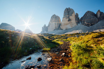 Wall Mural - Great view of alpine rocky massif. Location National Park Tre Cime di Lavaredo, Dolomite alps, Italy.