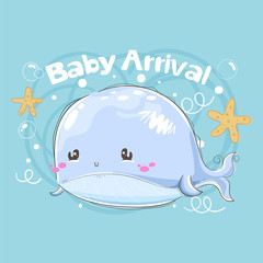 Baby shower arrival card with whale