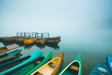 Wall Mural - Great view of the Bohinj lake in foggy morning. Location place Triglav national park, Slovenia.