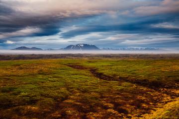 壁紙(ウォールミューラル) - Dramatic view of the geothermal valley Leirhnjukur. Location place Krafla volcano, Iceland.