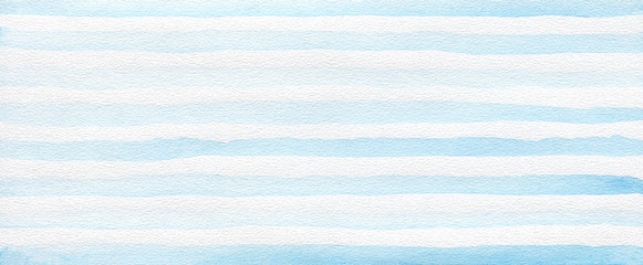 Abstract blue acrylic and watercolor strip line painting . Horizontal texture paper background. Fotobehang