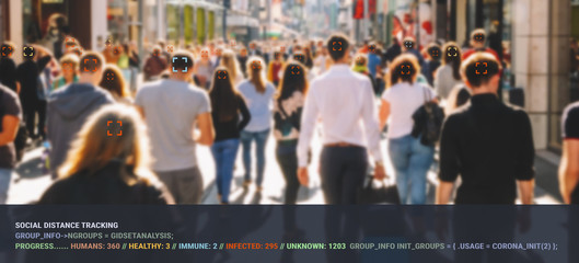 surveillance tracking crowd of people to protect their health and social behavior. Big data monitoring motion profile concept. Wall mural