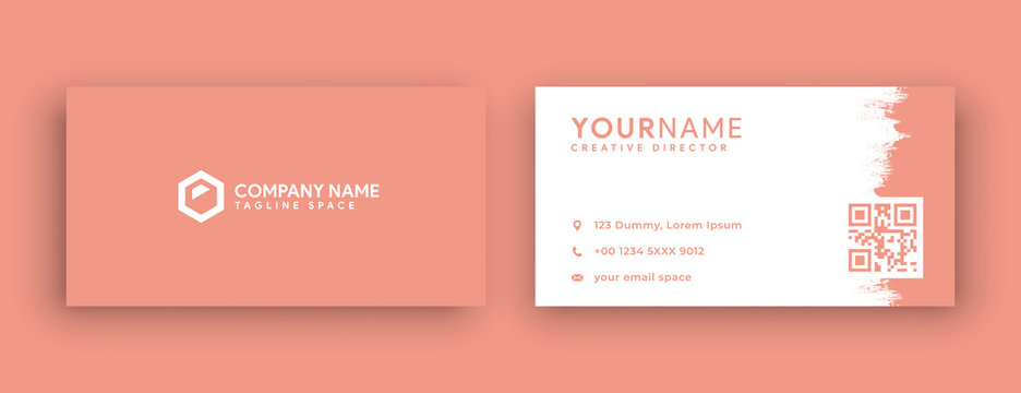 coral pink business card design , new 2020 coral pink color trend . clean and minimal concept vector illustration