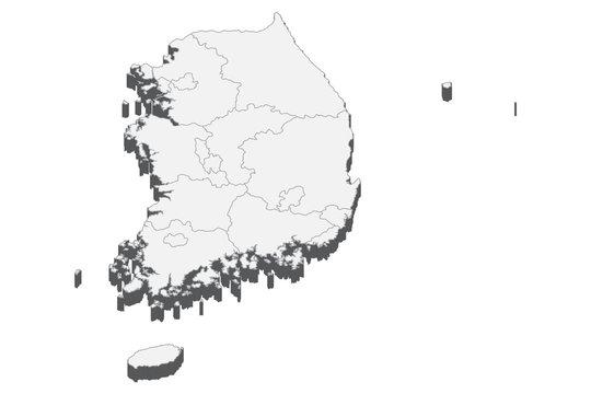 3D map illustration of South Korea