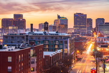 Golden Sunset View in Downtown Richmond Virginia, from atop Libby Hill Park by Main Street