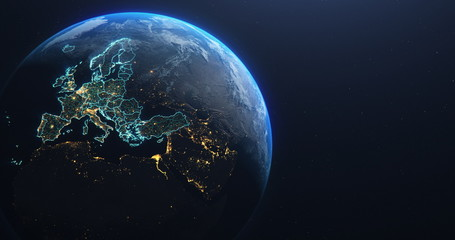Planet Earth from Space EU Europe Countries highlighted Wall mural