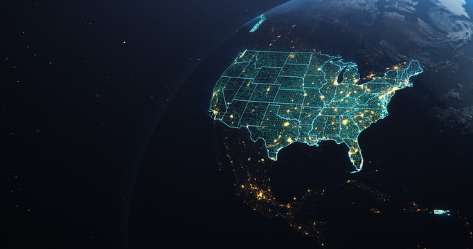Planet Earth from Space USA, United States highlighted state border and counties animation, elements of this image courtesy of NASA