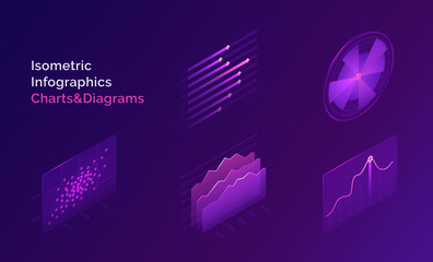 Isometric infographic charts and diagrams. Vector abstract analysis and statistic graphs, timelines. Design elements of digital report for finance, investment or another data on purple background Fototapete