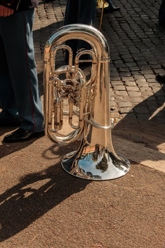 Marching Band With Wind Instrument Standing On Street
