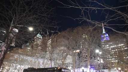 Wall Mural - NEW YORK CITY, USA - DECEMBER 7, 2018: Night view of skyscrapers in Bryant Park area, Manhattan, New York City, USA