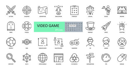 Video game icons. Set of images with editable stroke. Browser and downloadable games for computers and consoles. Action, strategy, adventure, simulator, race, football, victory, mystery, VR