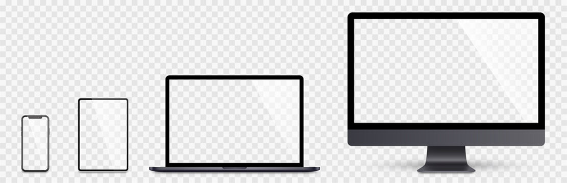 Realistic set computer, laptop, tablet and smartphone. Device screen mockup collection. Realistic space gray mock up computer, laptop, tablet, phone with shadow- stock vector.
