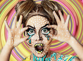 Bright pop art portrait of a fashionable stylish girl on colorful background. Halloween makeup