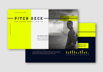 Pitch Deck Layout with Fluorescent Yellow Accents
