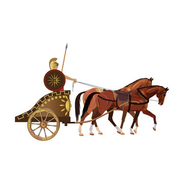 Roman warrior on an ancient war chariot drawn by two horses