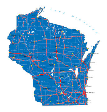 Wisconsin state political map