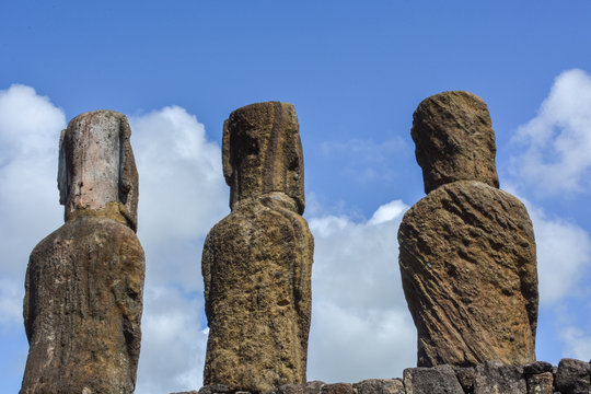 Details of Ancient maoi statues at Tongariki, largest collection of erected Maoi on Rapa Nui, Easter Island