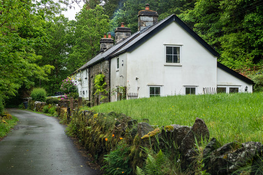 Rural Cottages on a Country Lane, Wales, UK