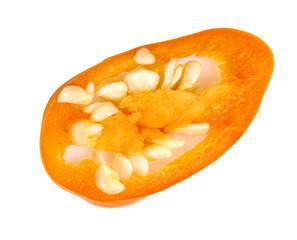 Fototapeta sliced orange chili isolated on white background obraz