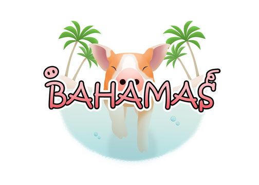 Logo of a cute little swine swimming in clear Bahamas sea between two palm islands