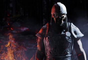 3d render of viking warrior standing in woods.