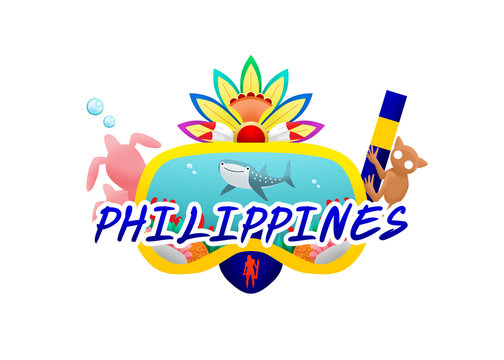 Logo of a whale shark swimming in Lapu-Lapu snorkel, a tarsier climbing the pipe on the right hand side, a couple of turtles swimming on the left, and Masskara carnival crown on the top