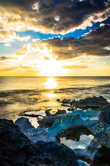 Fotobehang Rivier Scenic View Of Sea Against Sky During Sunset