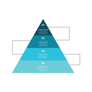 Triangle pyramid chart infographic flat vector diagram for presentations