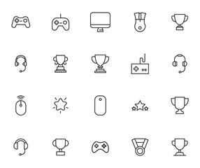 Simple set of gaming icons in trendy line style.