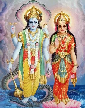 lord  Vishnu  lady Lakshmi lotus flower hinduism  mythology illustration