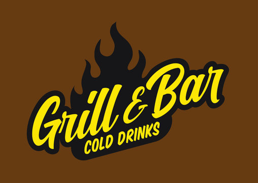 Gril and bar logo concept