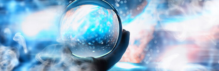 Astrological background. Crystal ball with predictions. Horoscope of the stars. Fortune telling and determination of fate. Soothsayer with a crystal ball. Fotomurales